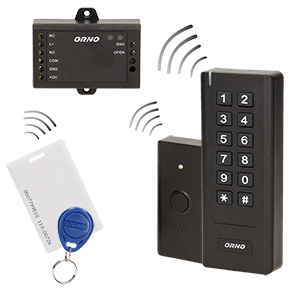Wireless code lock with card and proximity tags reader, IP20
