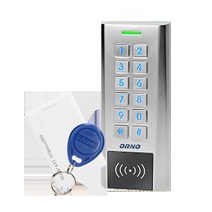 Zamek szyfrowy wąski z czytnikiem kart i breloków zbliżeniowych, IP66 , 2 przekaźniki 2A, wymiary 134x55,5x21
