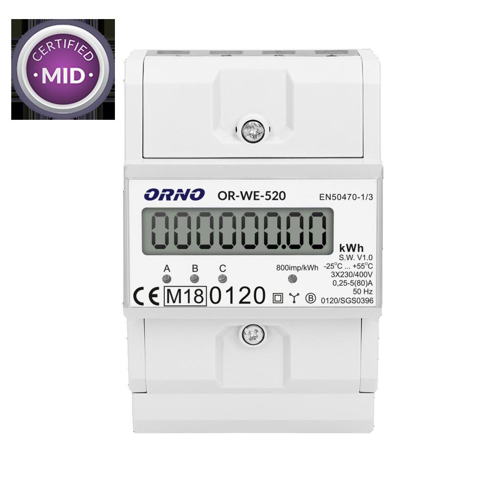 3-fazowy licznik energii elektrycznej z certyfikatem MID, 80A