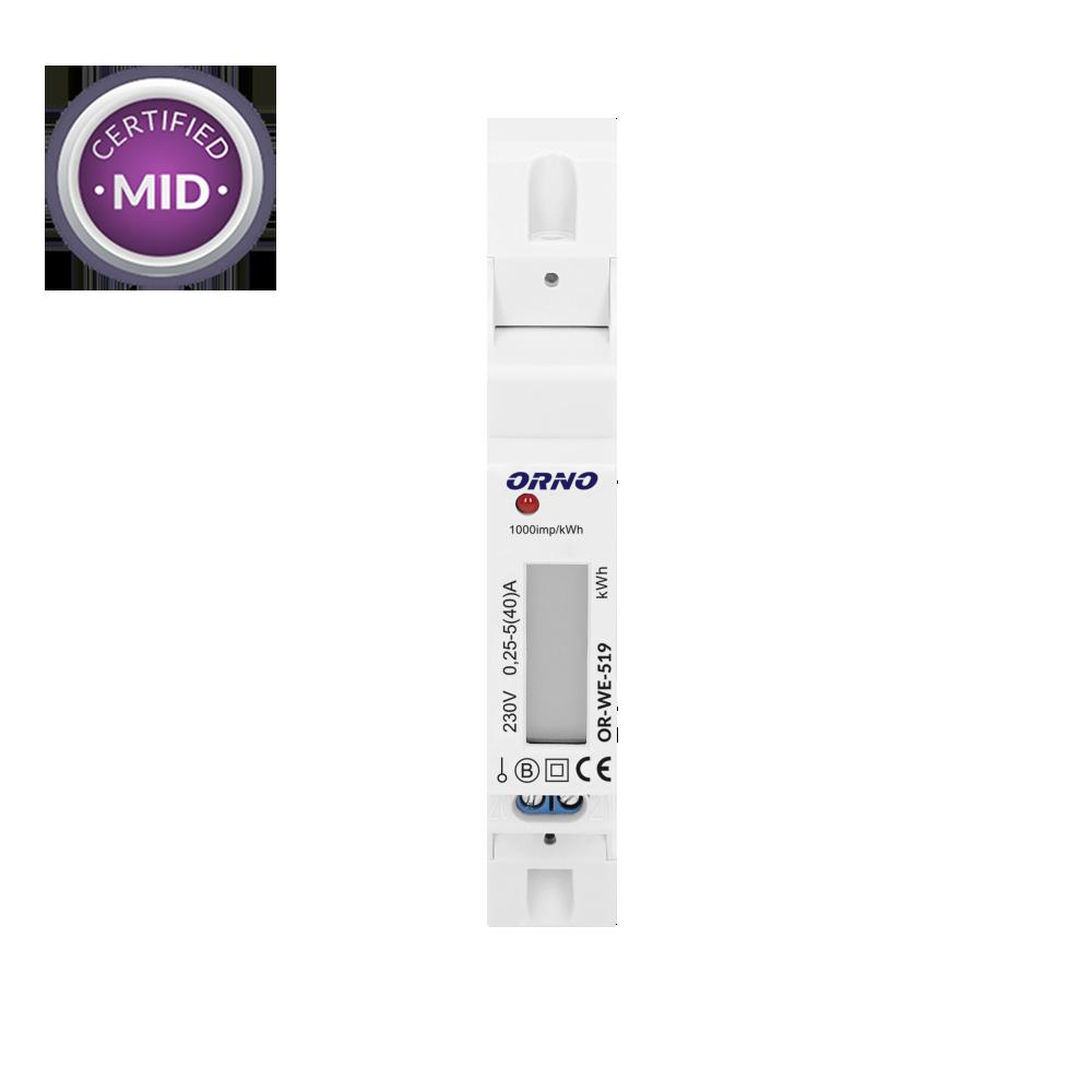 1-fazowy licznik energii elektrycznej z certyfikatem MID, 40A