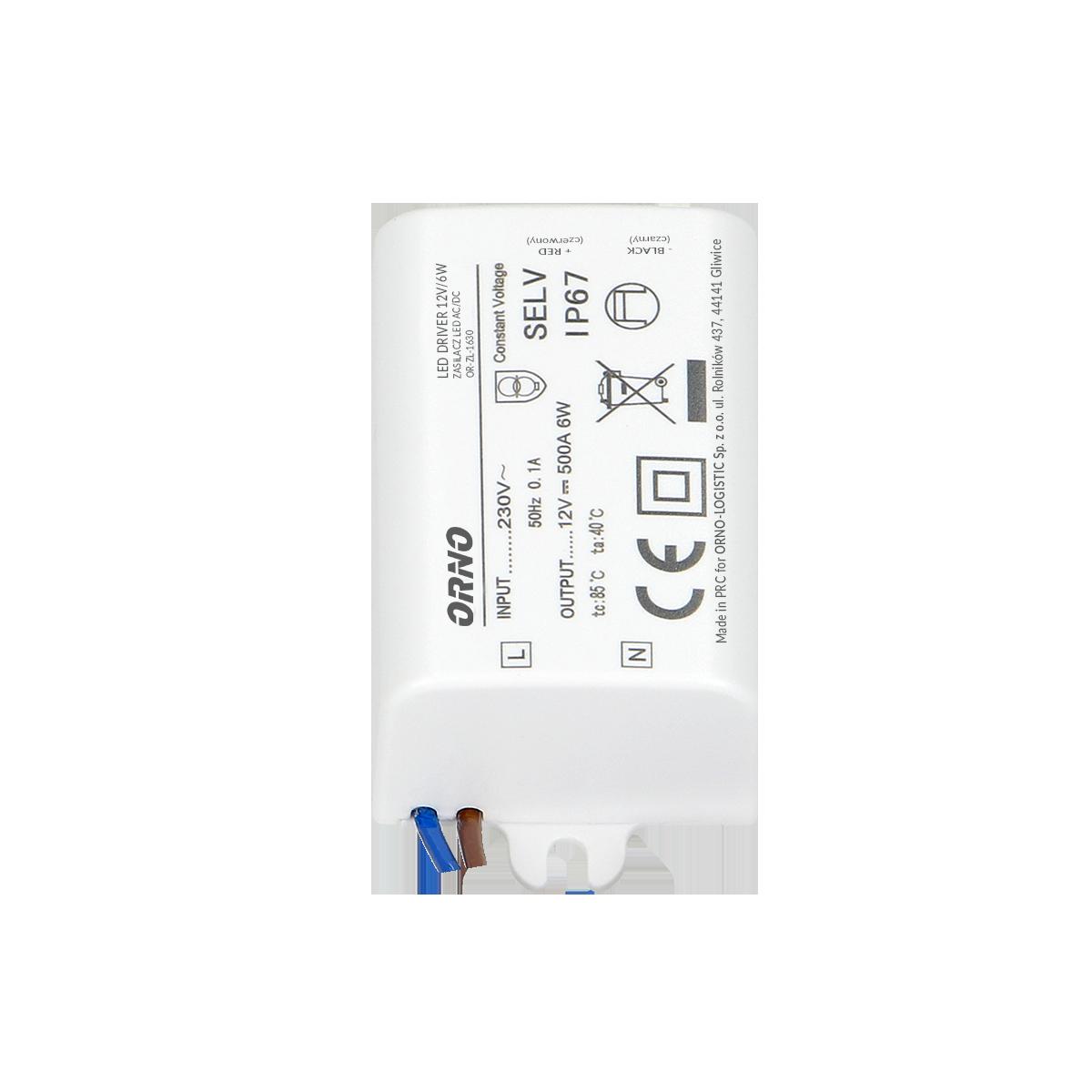 Zasilacz MINI do LED do puszki 12VDC 6W, IP67, 55/29,5/22mm