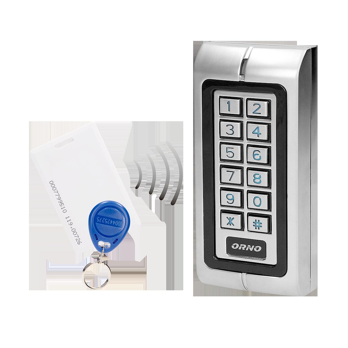 Zamek szyfrowy wąski z czytnikiem kart i breloków zbliżeniowych, IP44 , 1 przekaźnik 3A , wymiary 128x82x28 mm