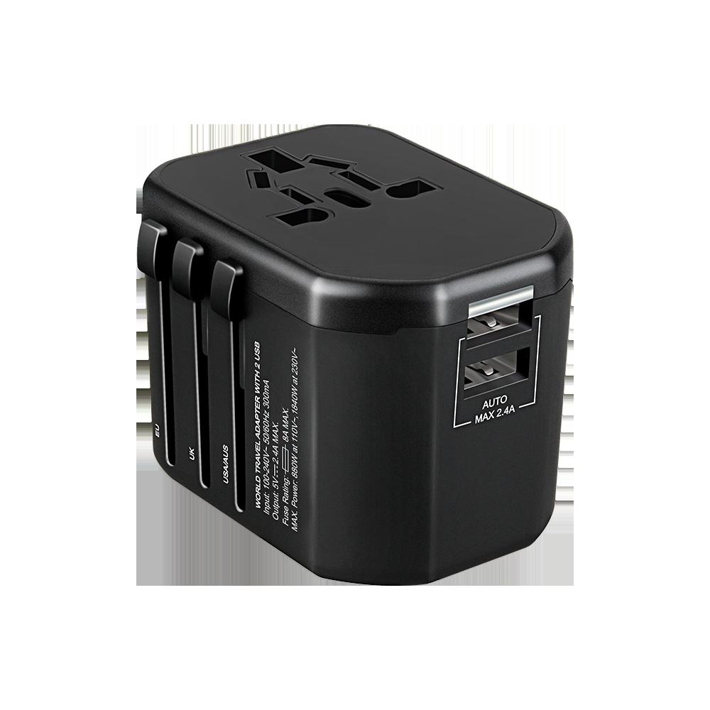 GOworld USB uniwersalny adapter podróżny do ponad 200 krajów świata,  100-240V, 8A, 2 x USB, 5V  2,4A inteligentna identyfikacja