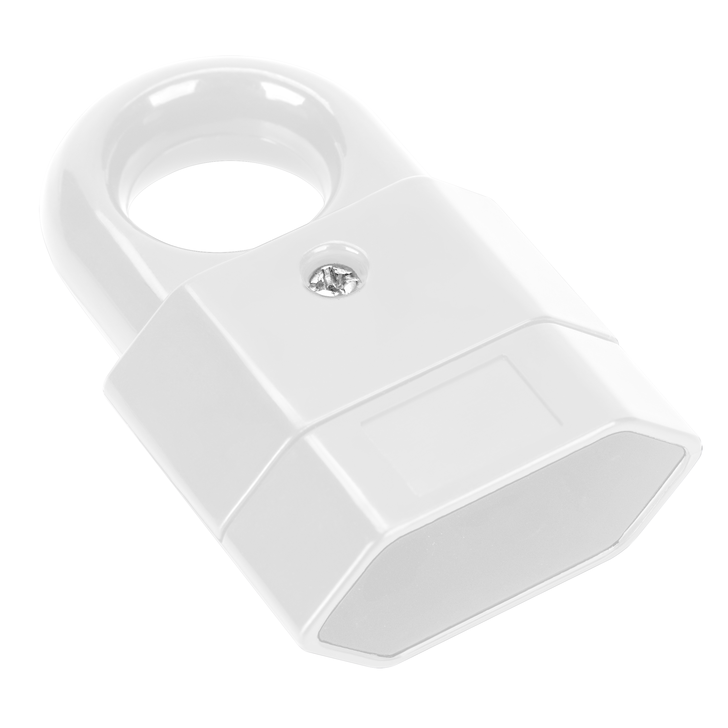 EURO power socket with hook, flat, white