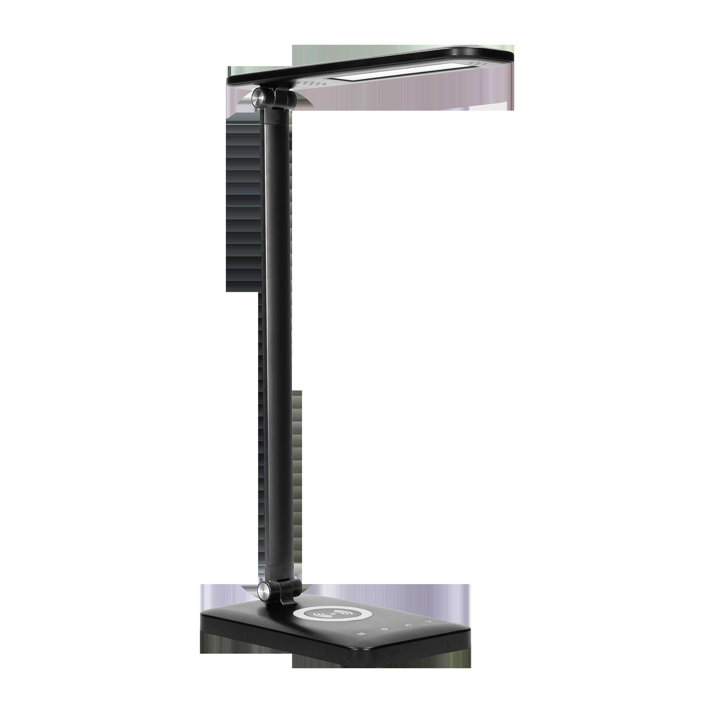 WIRLE LED 7W Lampka biurkowa z ładowarką  indukcyjną i usb. 390lm, 3000-4000-6000K, zmiana barwy temperaturowej i funkcja ściemniania, czarna