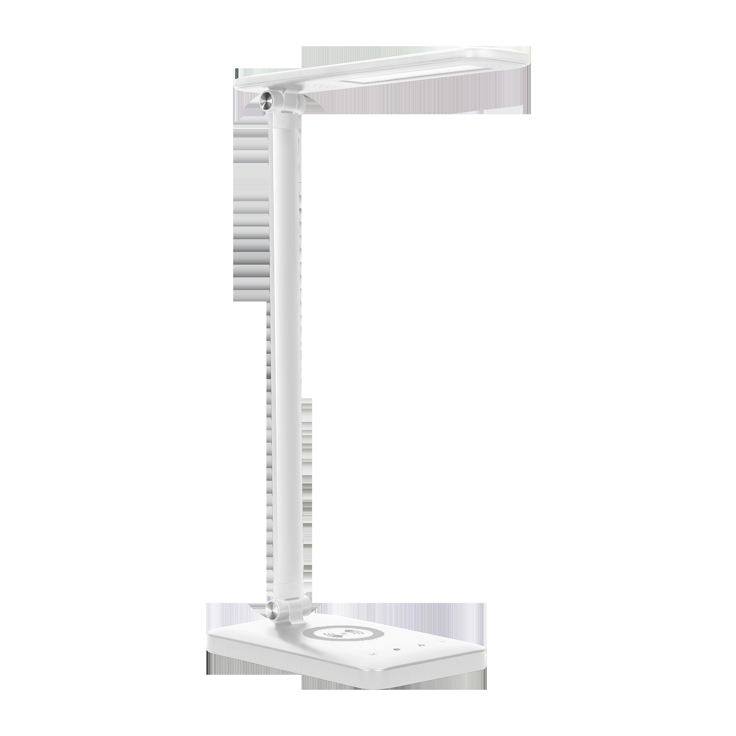 WIRLE LED 7W Lampka biurkowa z ładowarką  indukcyjną i usb. 390lm, 3000-4000-6000K, zmiana barwy temperaturowej i funkcja ściemniania, biała