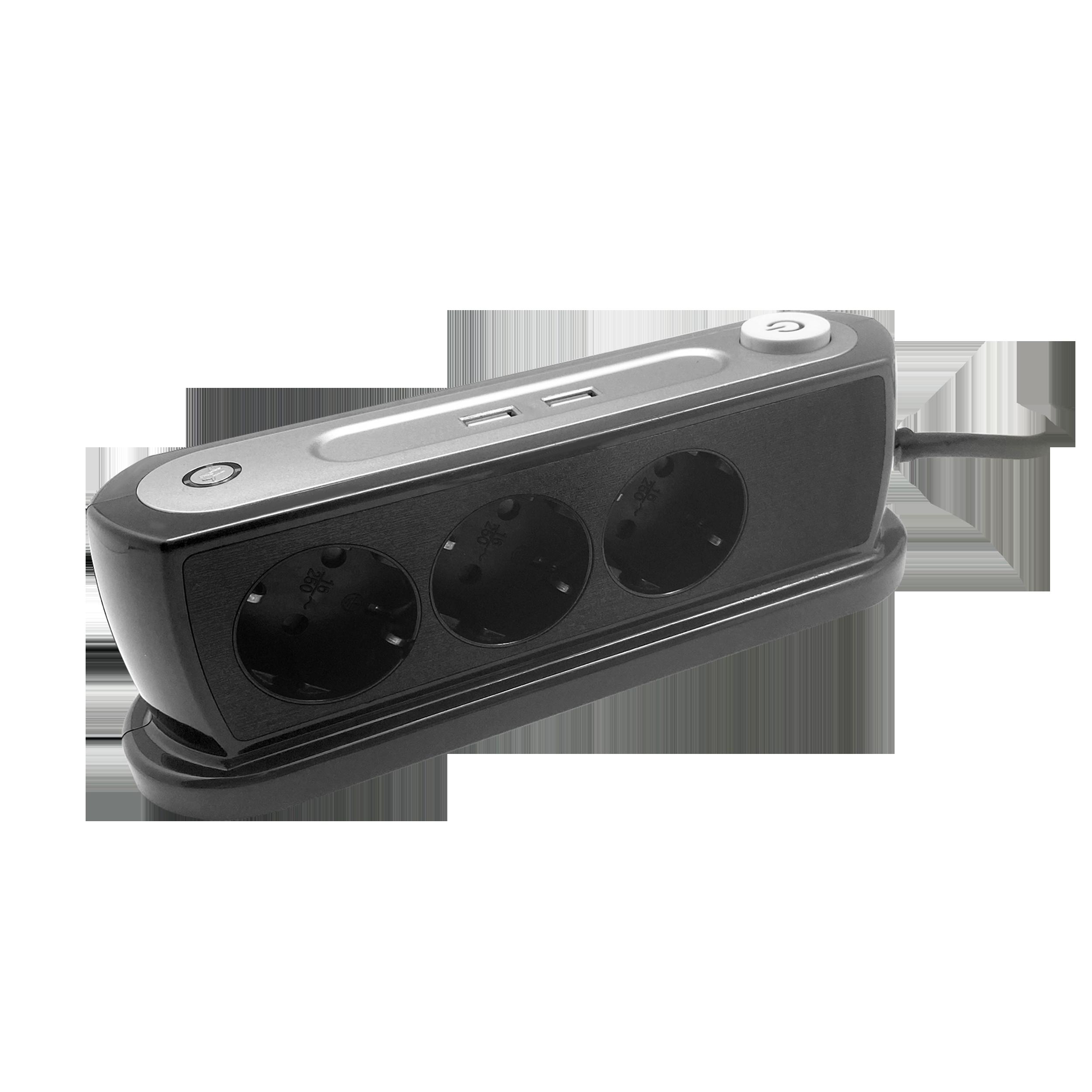 Listwa zasilająca nabiurkowa z wyłącznikiem 3x2P+Z, ładowarka 2xUSB 2.4A, Ogranicznik przepięć TYP 3, kabel H05VV-F 3x1,5, długość 1,4m , czarny