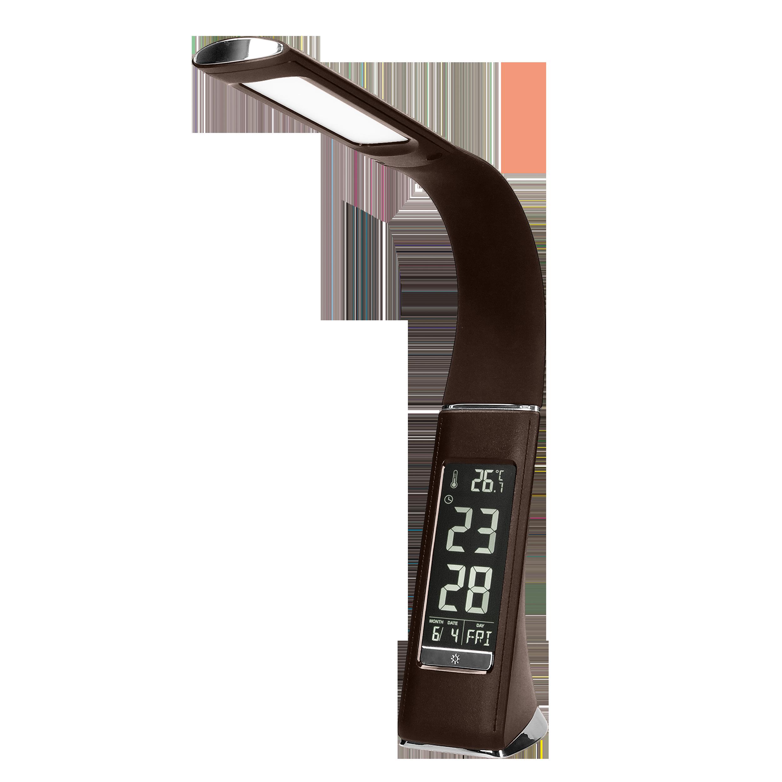 DOLOMIT LED 5W, lampka biurkowa z budzikiem, 300lm, 4000K, brązowa