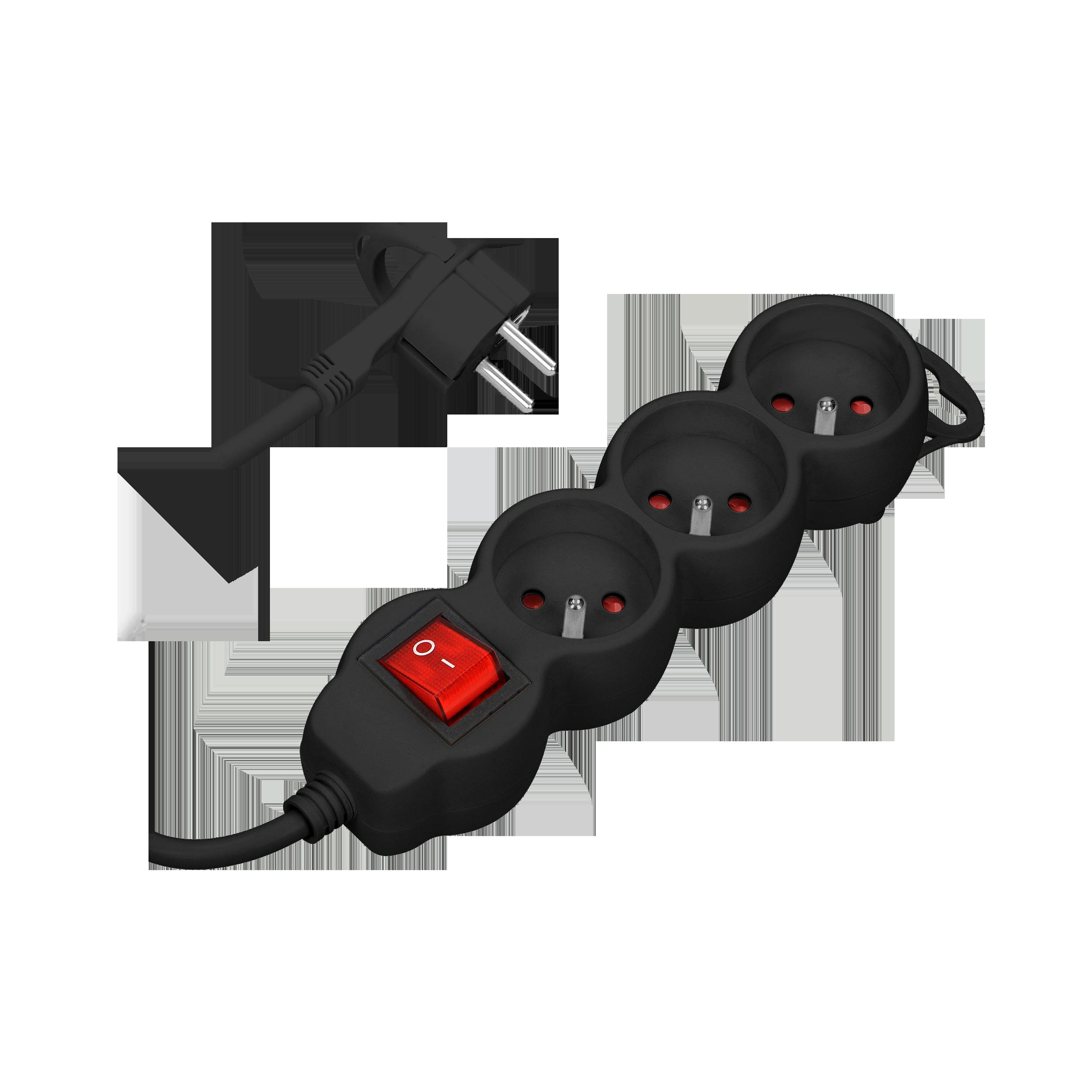 Przedłużacz 3-krotny 2P+Z z wyłącznikiem, 1,5m H05VV-F 3x1,0mm², Imax=10A, płaska wtyczka, czarny