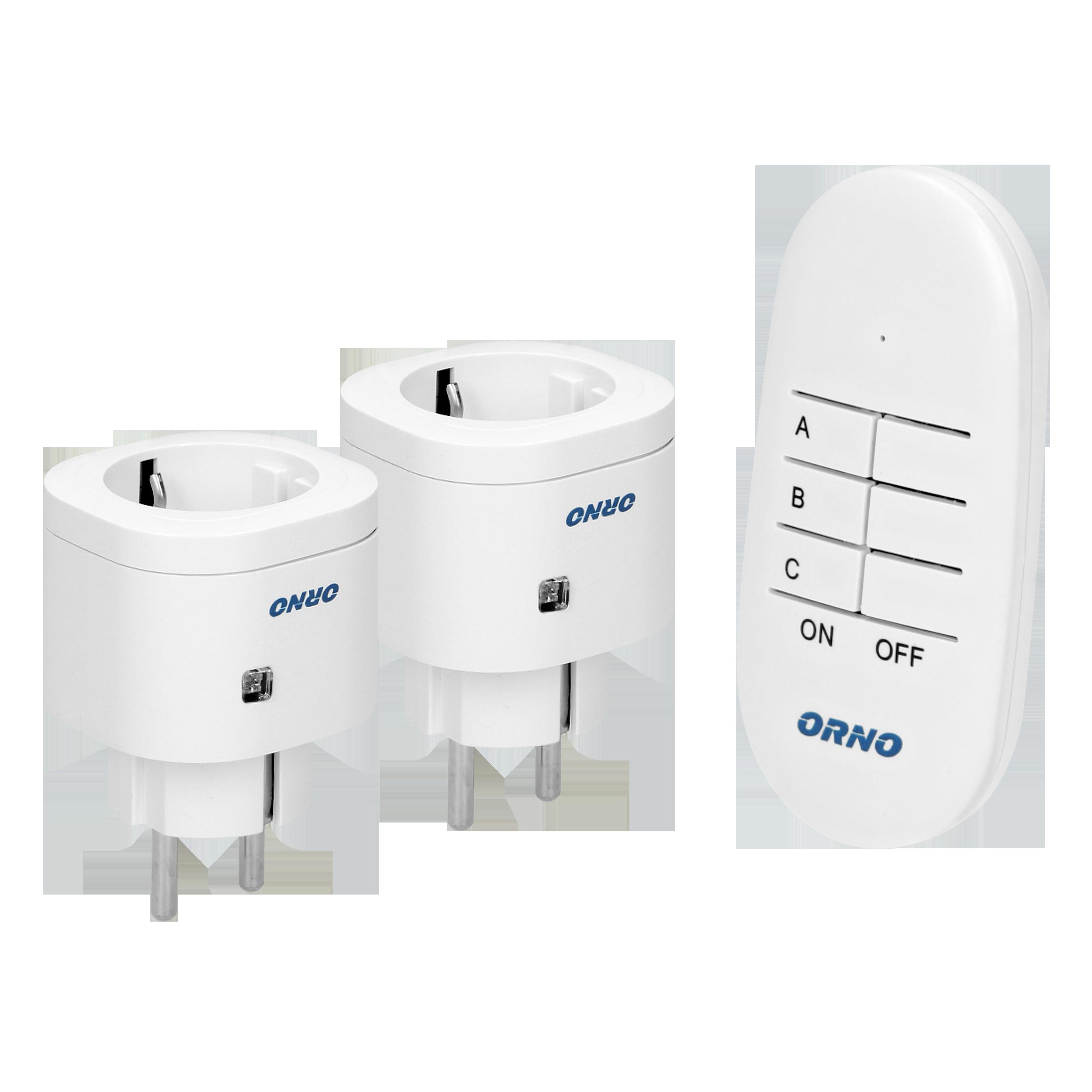 Mini wireless sockets with remote control, 2+1, Schuko