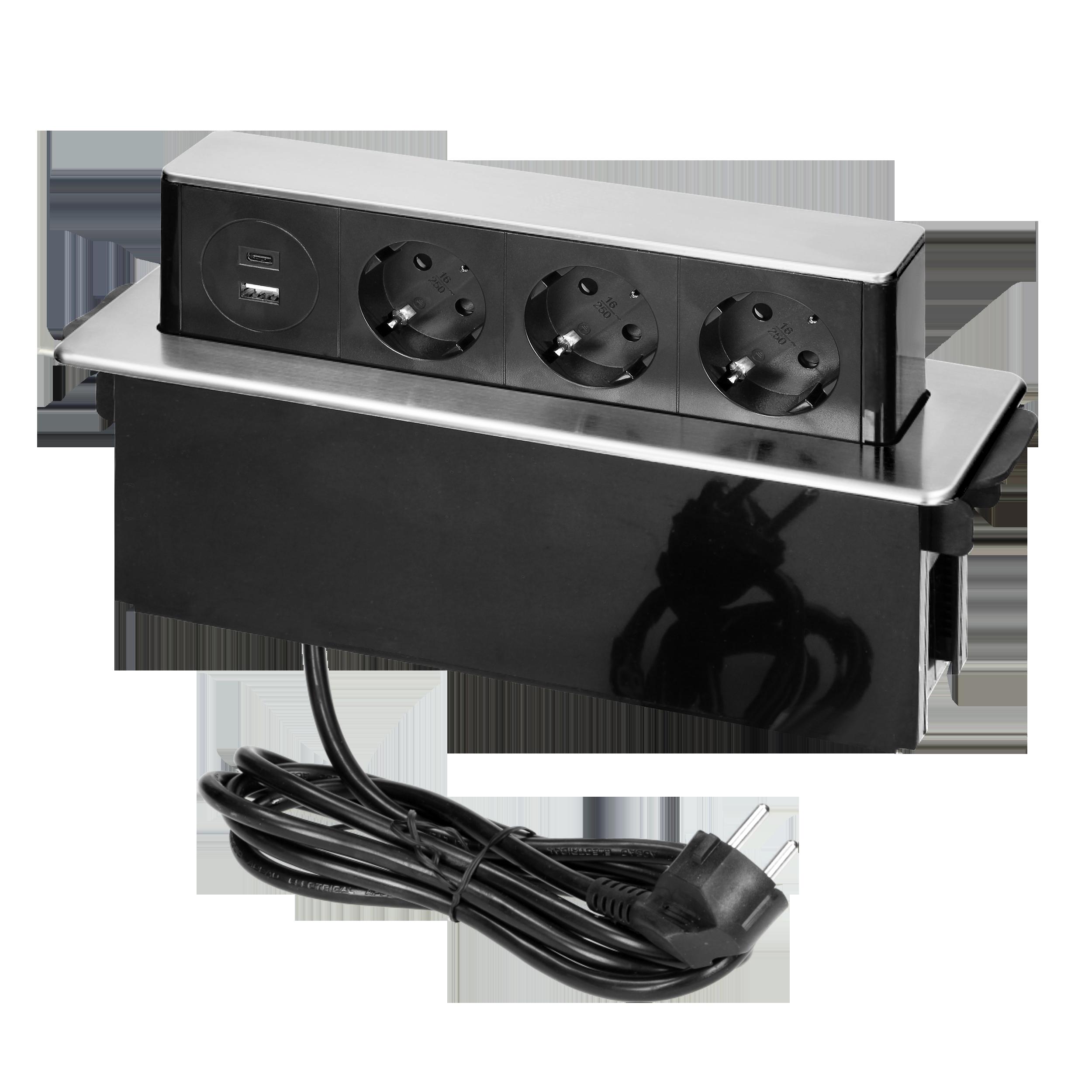 Gniazdo meblowe wysuwane z blatu z płaskim frezowanym rantem, ładowarką USB i przewodem 2m, 3 gniazda typ F, 2 x USB (Typ A + C 3,0A), 3x1,5mm2, czarno-srebrne, INOX, wersja Schuko