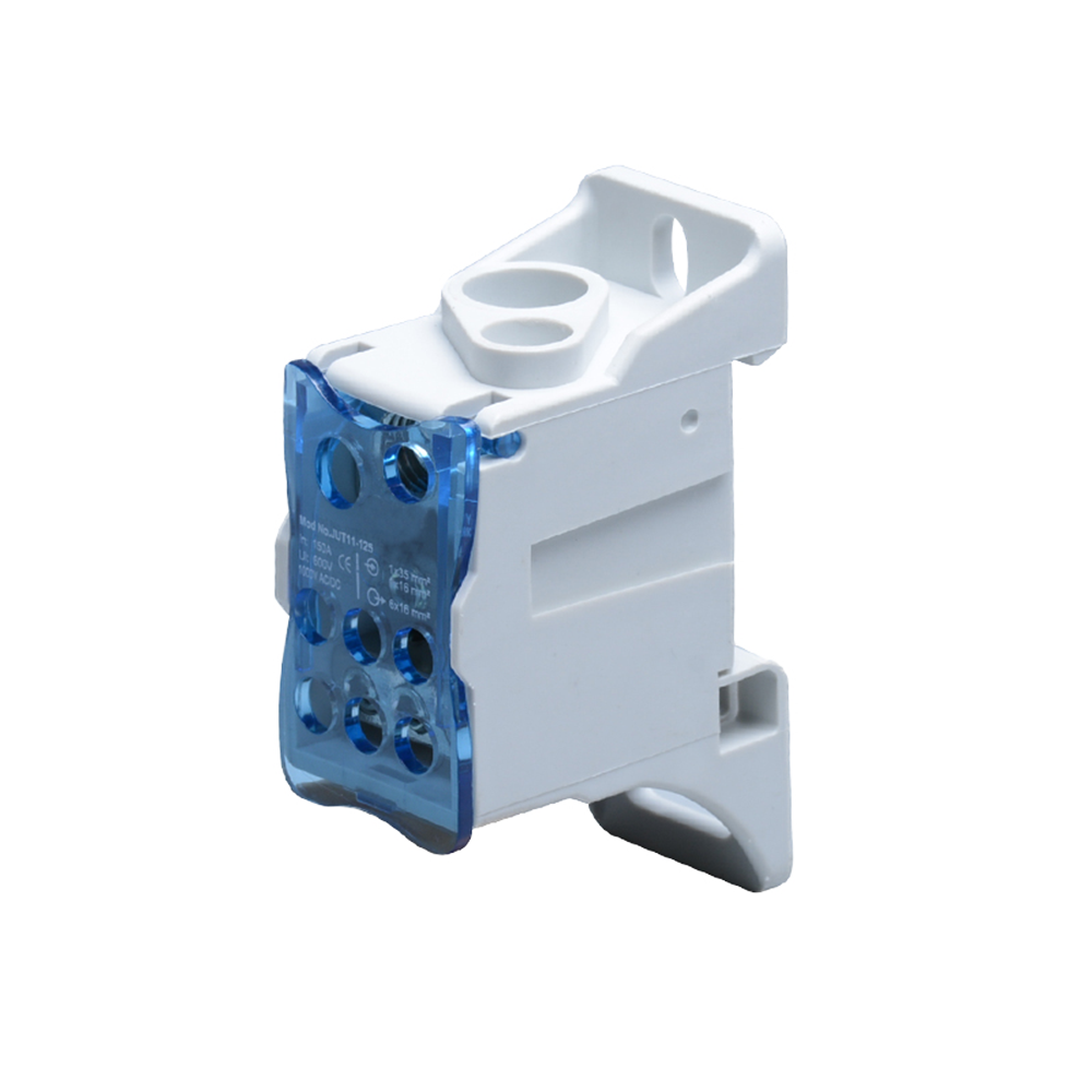 Power distribution block 125A, input terminal 1x16mm² and 1x35mm², output terminals 6x16mm².