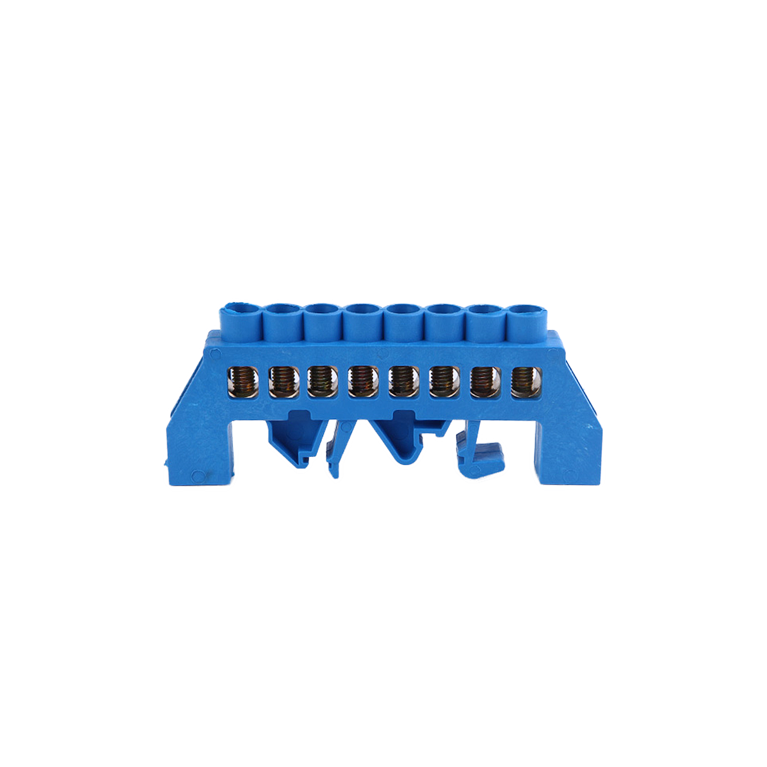 Insulated, neutral distribution busbar (N), 8 cables, blue