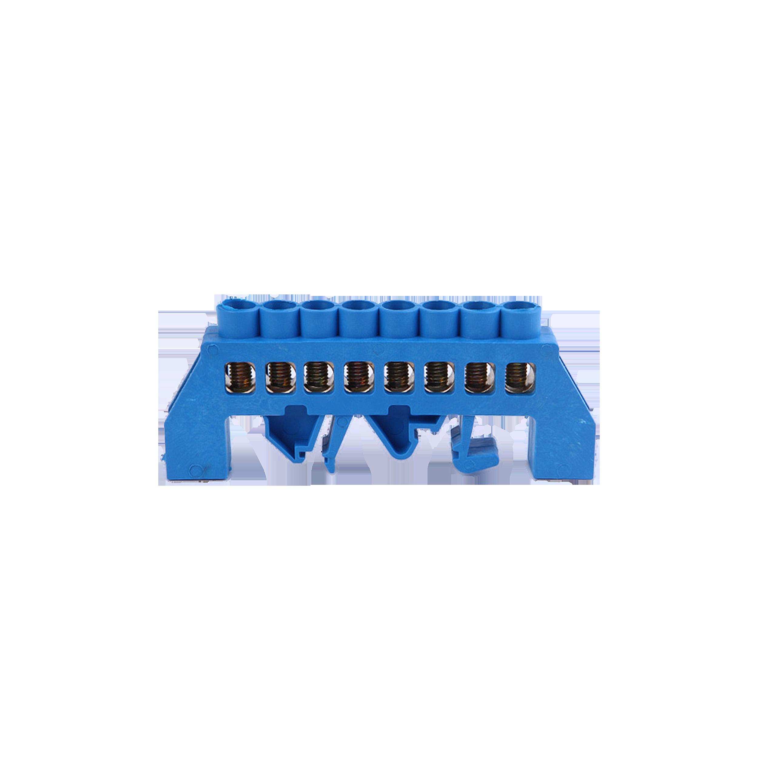 Listwa zaciskowa izolowana N, 8 przewodów, niebieska