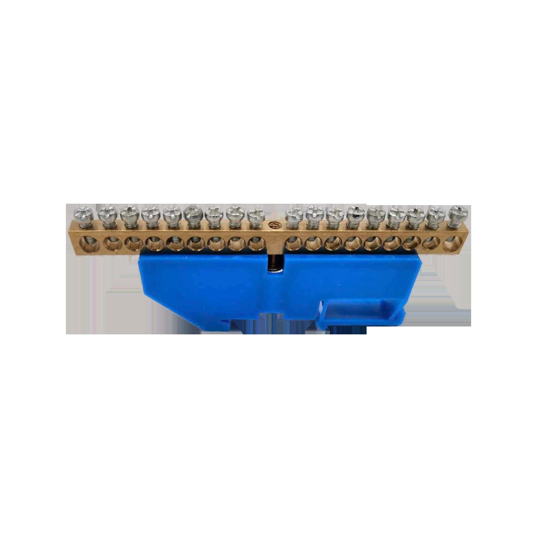 Listwa zaciskowa N, na szynę TH35, 18 przewodów, niebieska