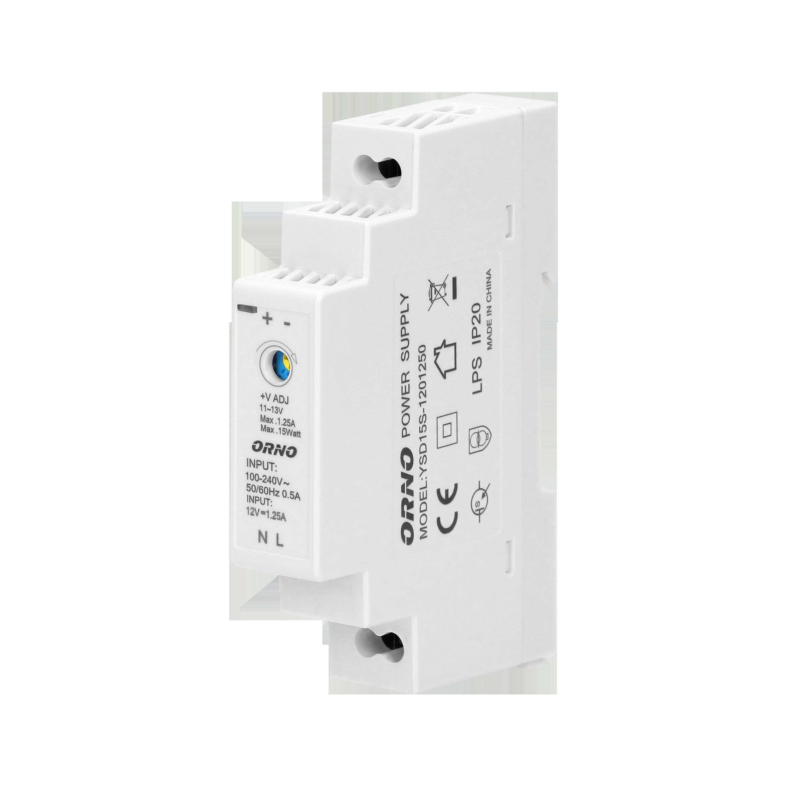 DIN rail power adaptor 12V DC 1.25A, 15W, width: 1 unit