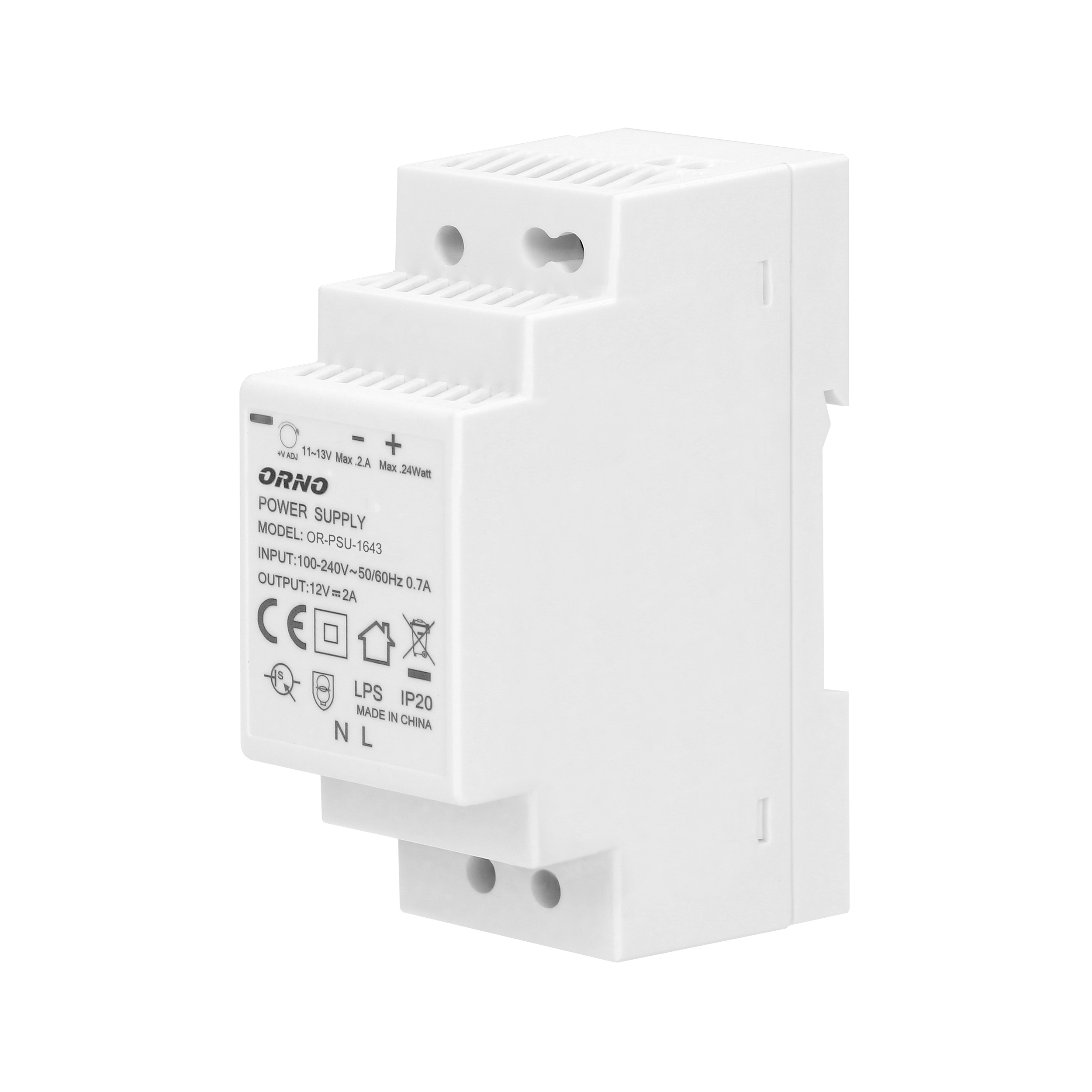 DIN rail power adaptor 12V DC 2A, 24W, width: 2 units