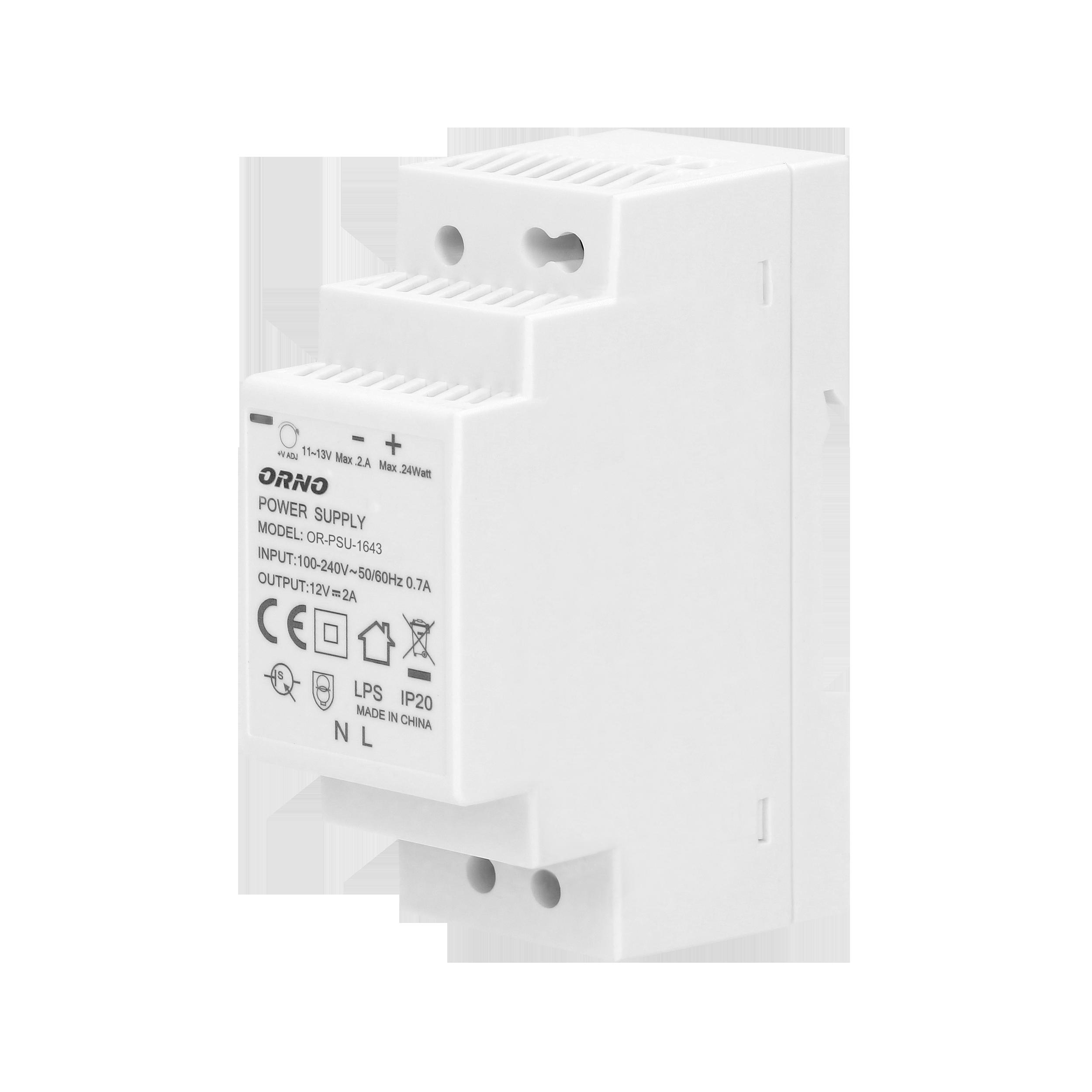 Zasilacz na szynę DIN 12VDC, 2A, 24W, szerokość 2 moduły
