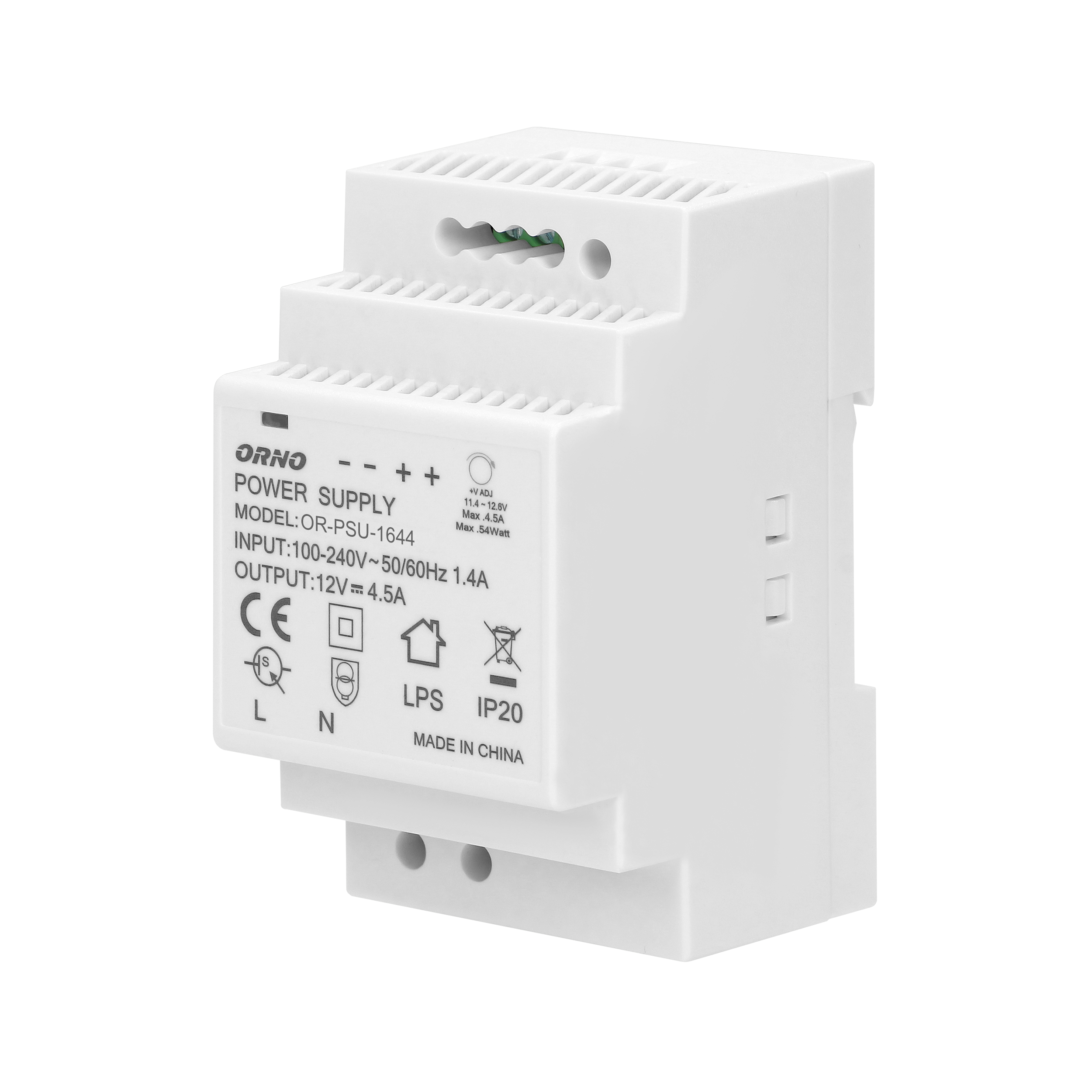 DIN rail power adaptor 12V DC 4.5A, 54W, width: 3 units