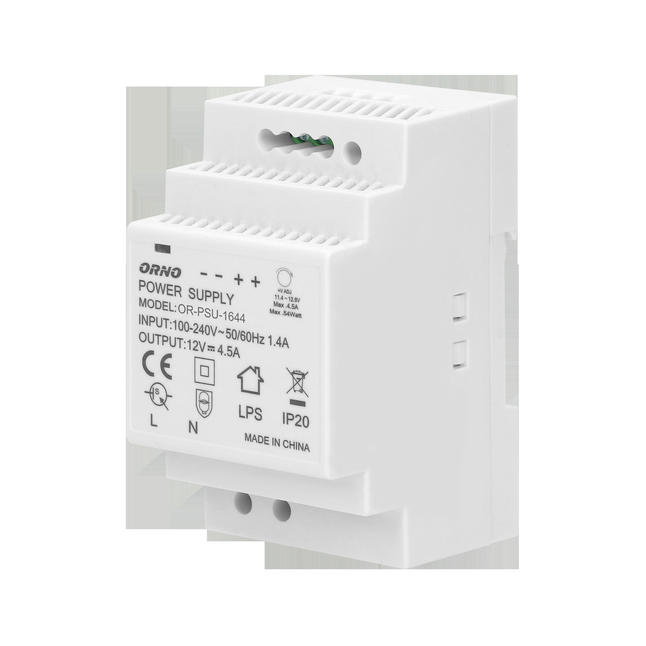 Zasilacz na szynę DIN 12VDC, 4,5A, 54W, szerokość 3 moduły