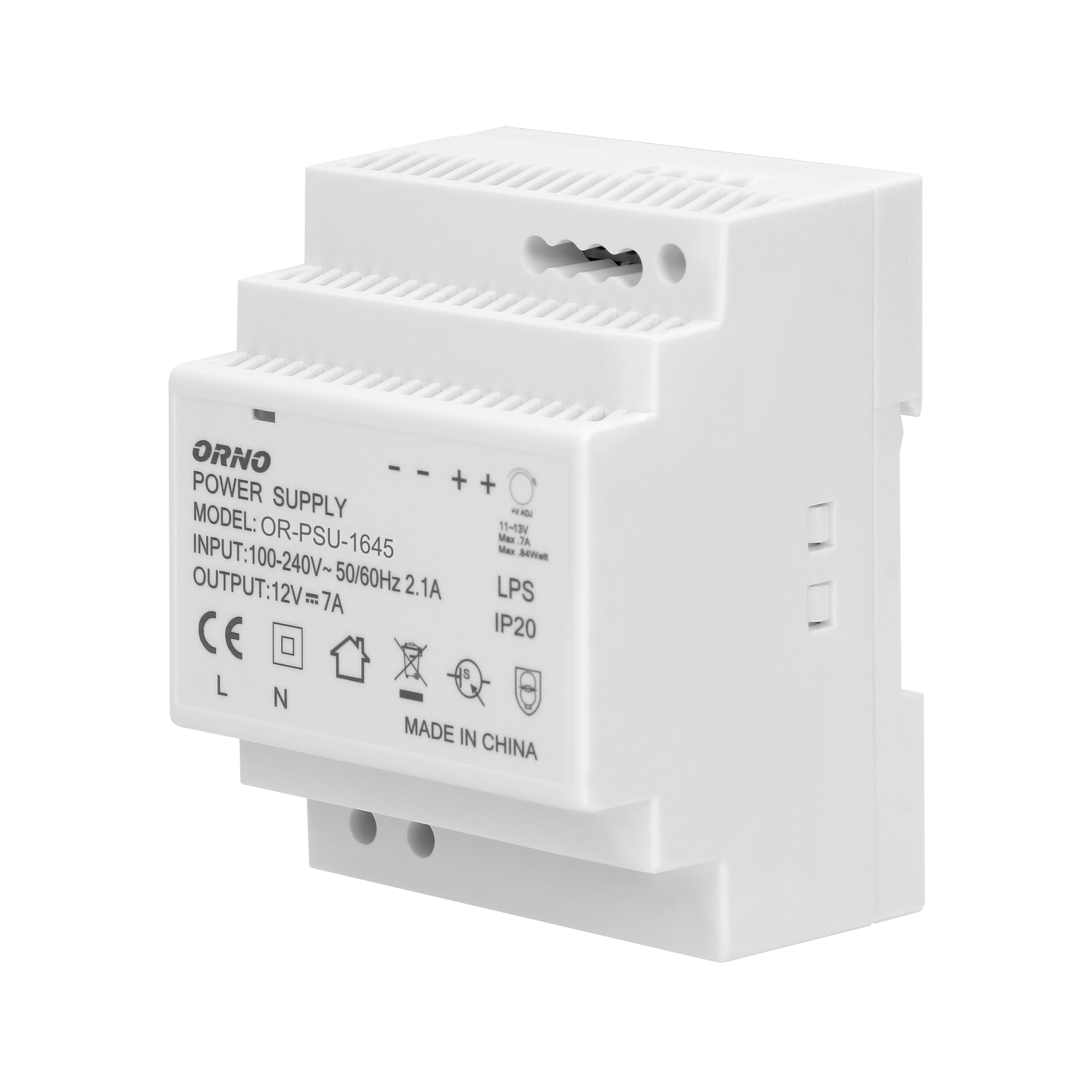DIN rail power adaptor 12V DC 7A, 84W, width: 4 units