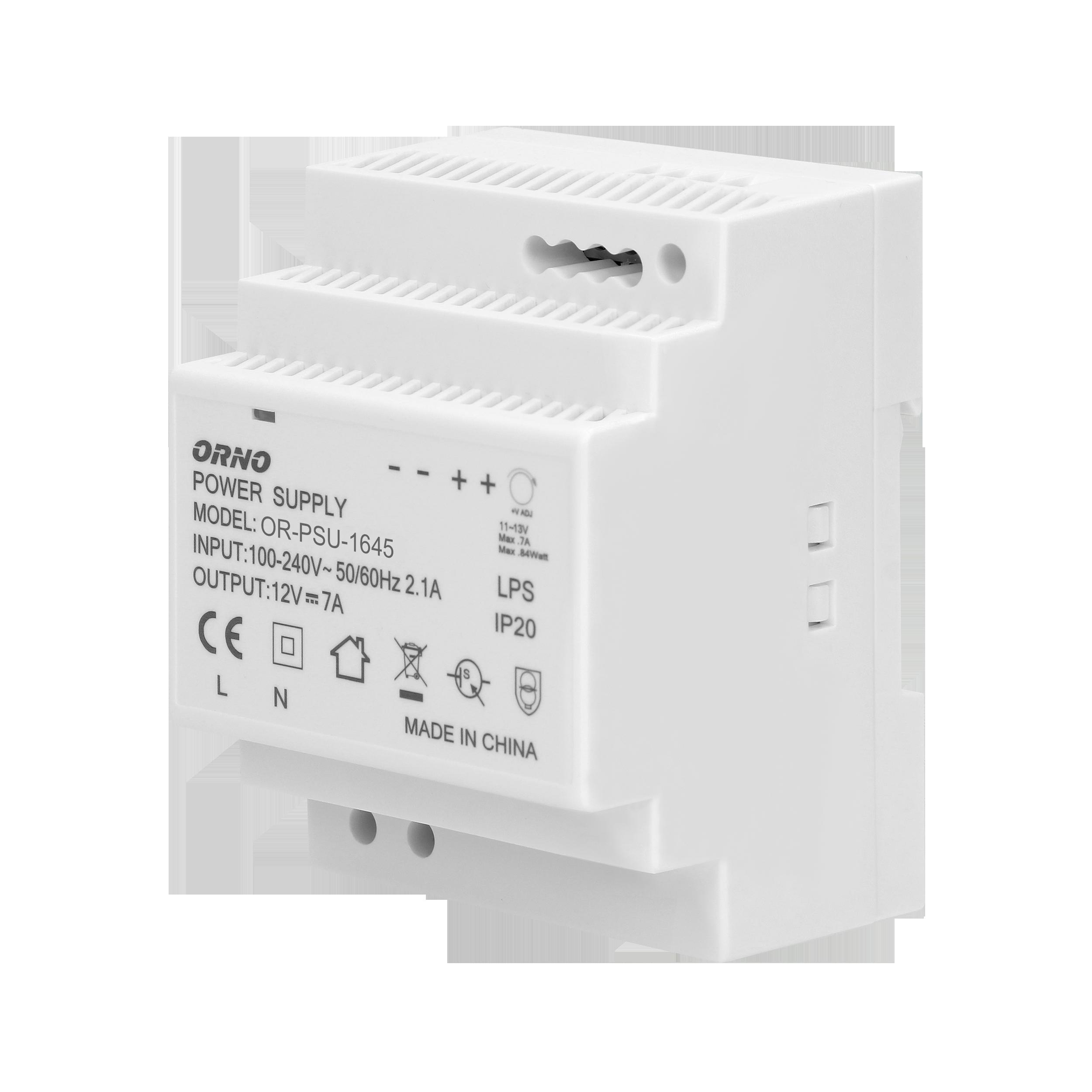 Zasilacz na szynę DIN 12VDC, 7A, 84W, szerokość 4 moduły