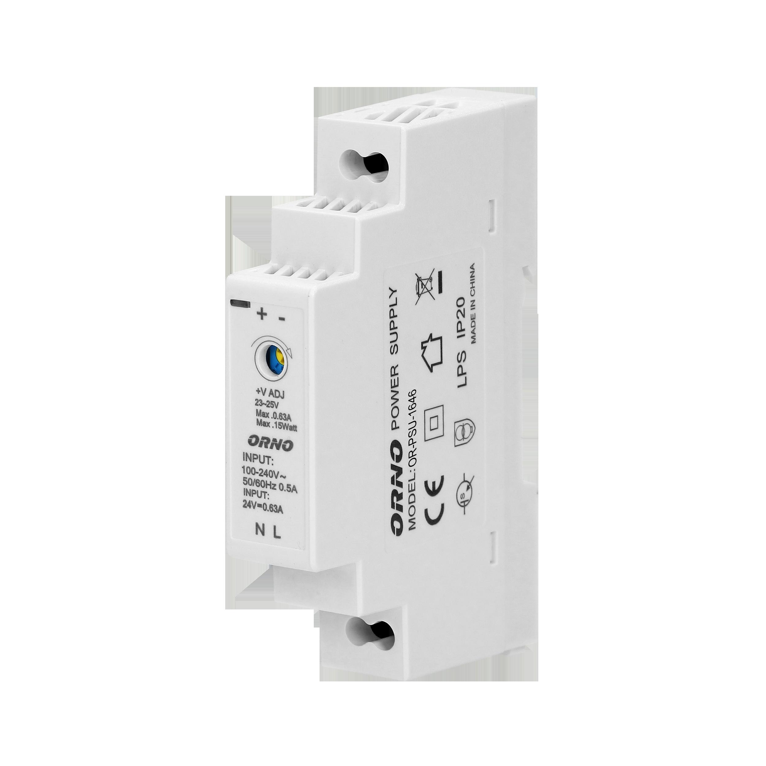 Zasilacz na szynę DIN 24VDC, 0,63A, 15W, szerokość 1 moduł