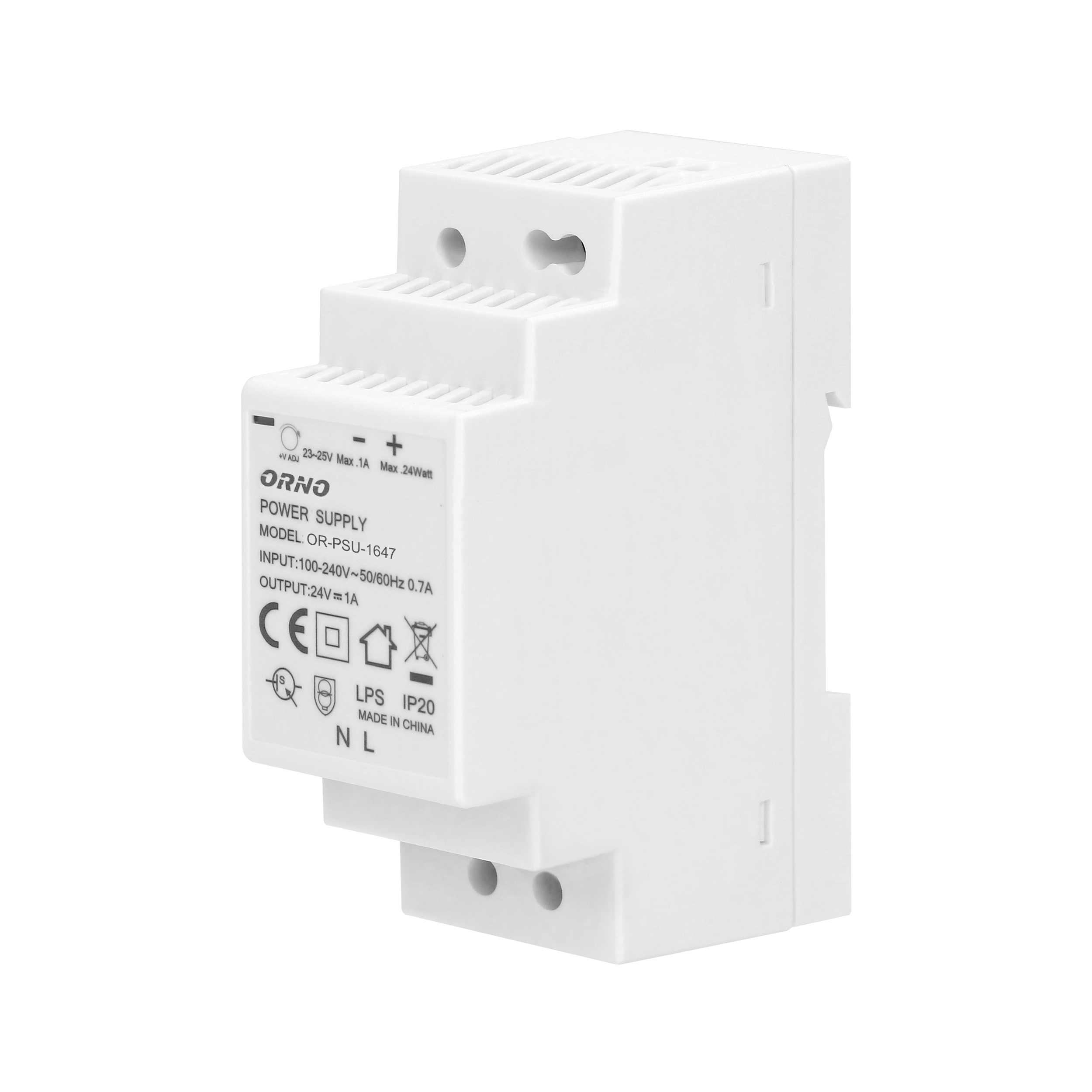DIN rail power adaptor  24VDC, 1A, 24W, width: 2 units