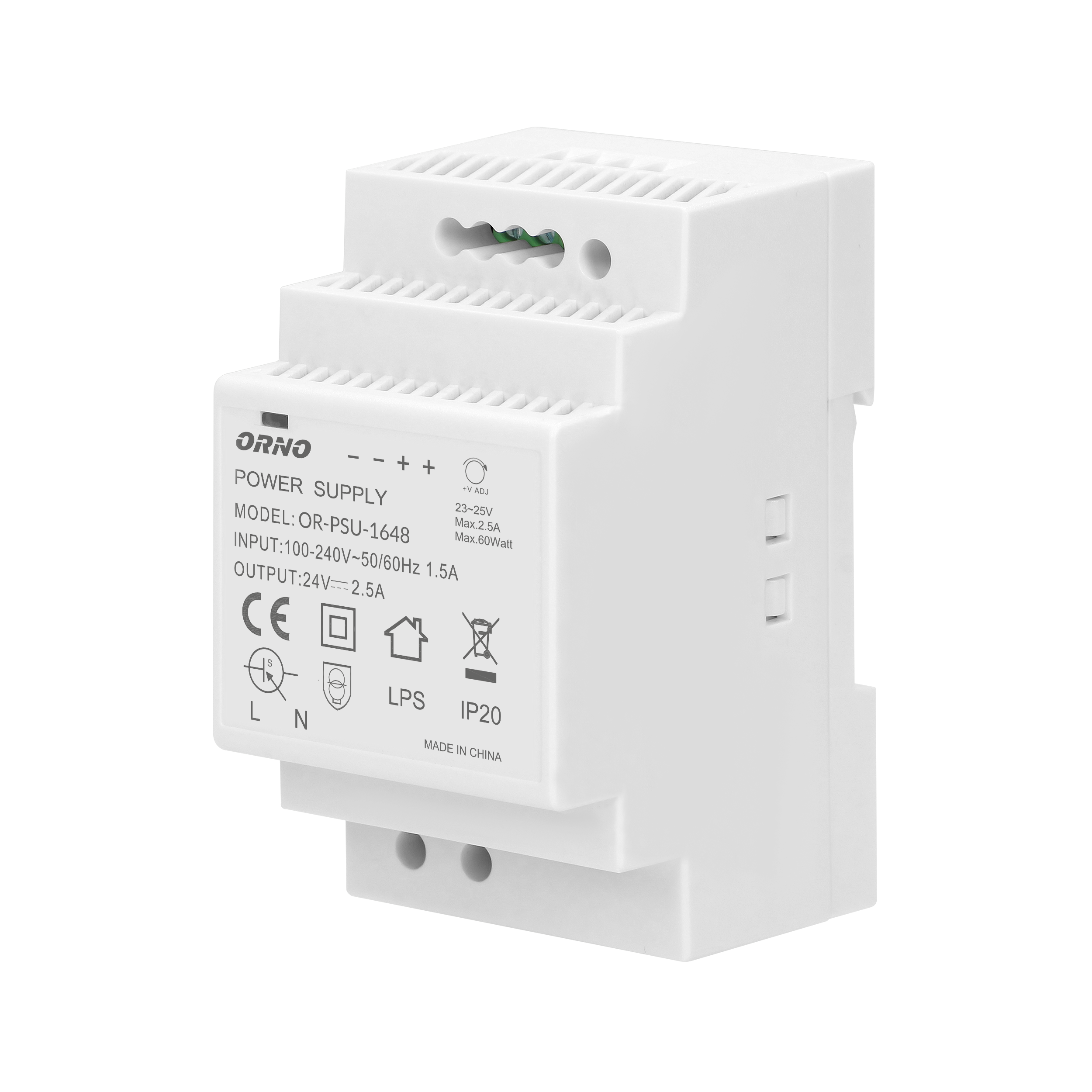 DIN rail power adaptor  24VDC, 2.5A, 60W, width: 3 units