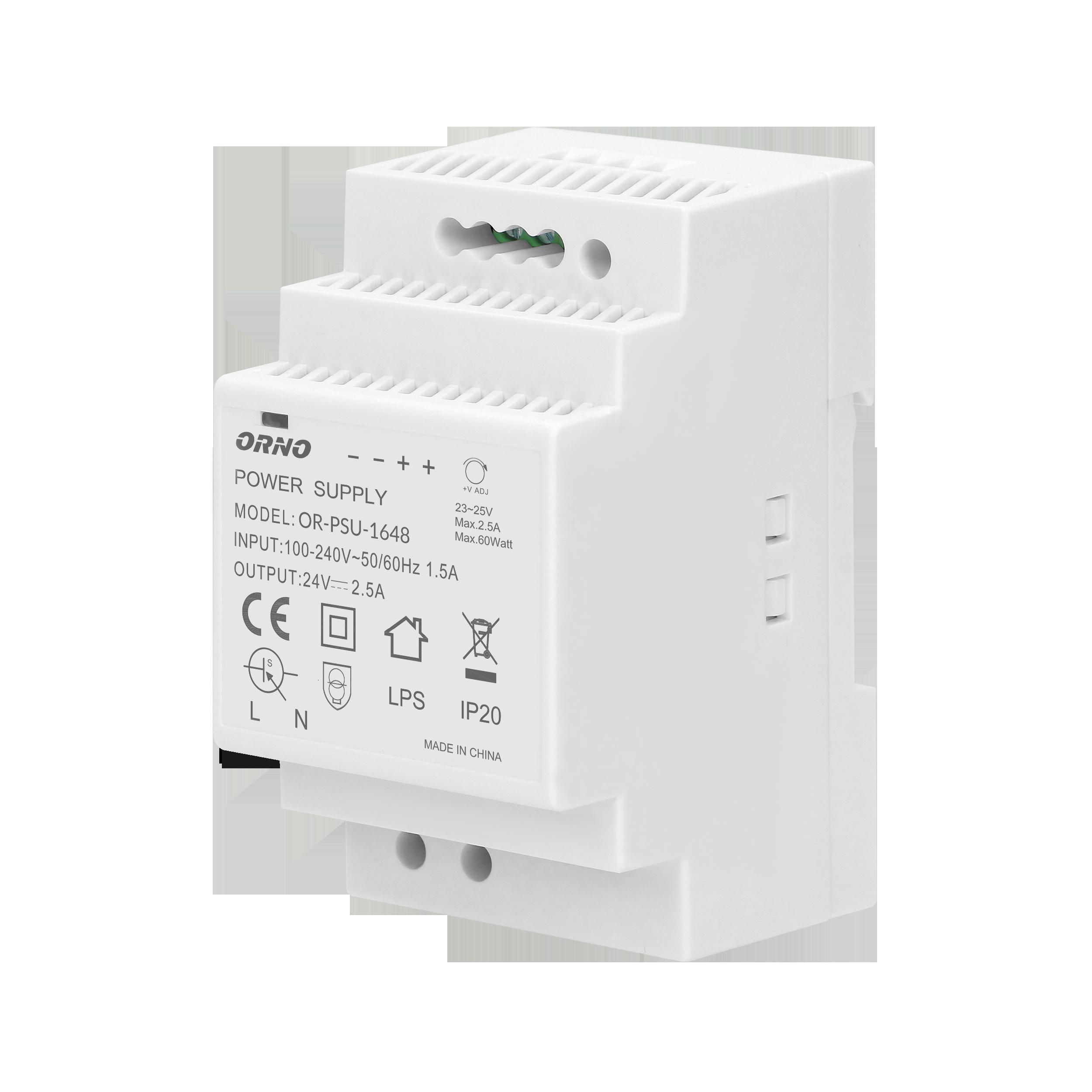 Zasilacz na szynę DIN 24VDC, 2,5A, 60W, szerokość 3 moduły