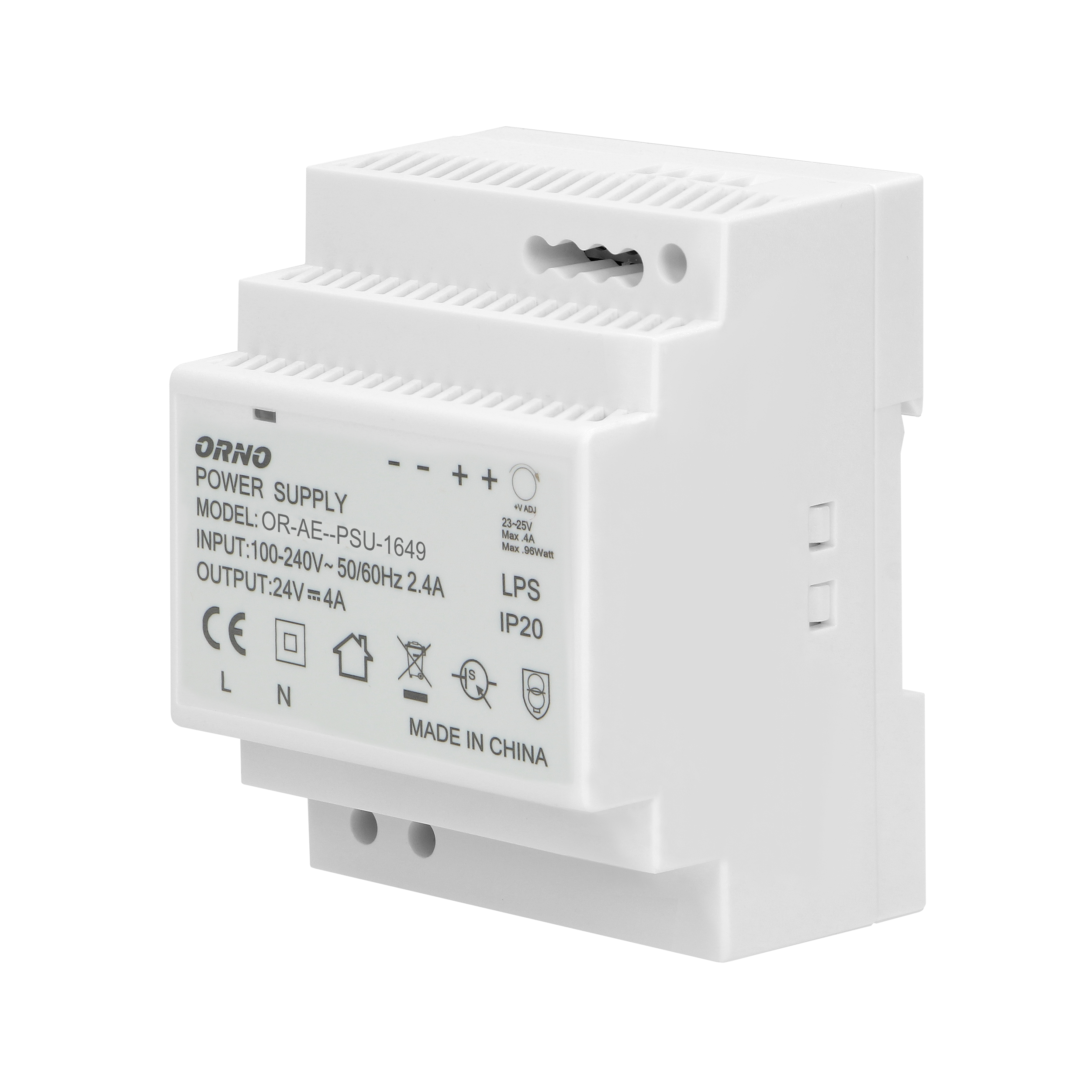 DIN rail power adaptor  24VDC, 4A, 100W, width: 4 units