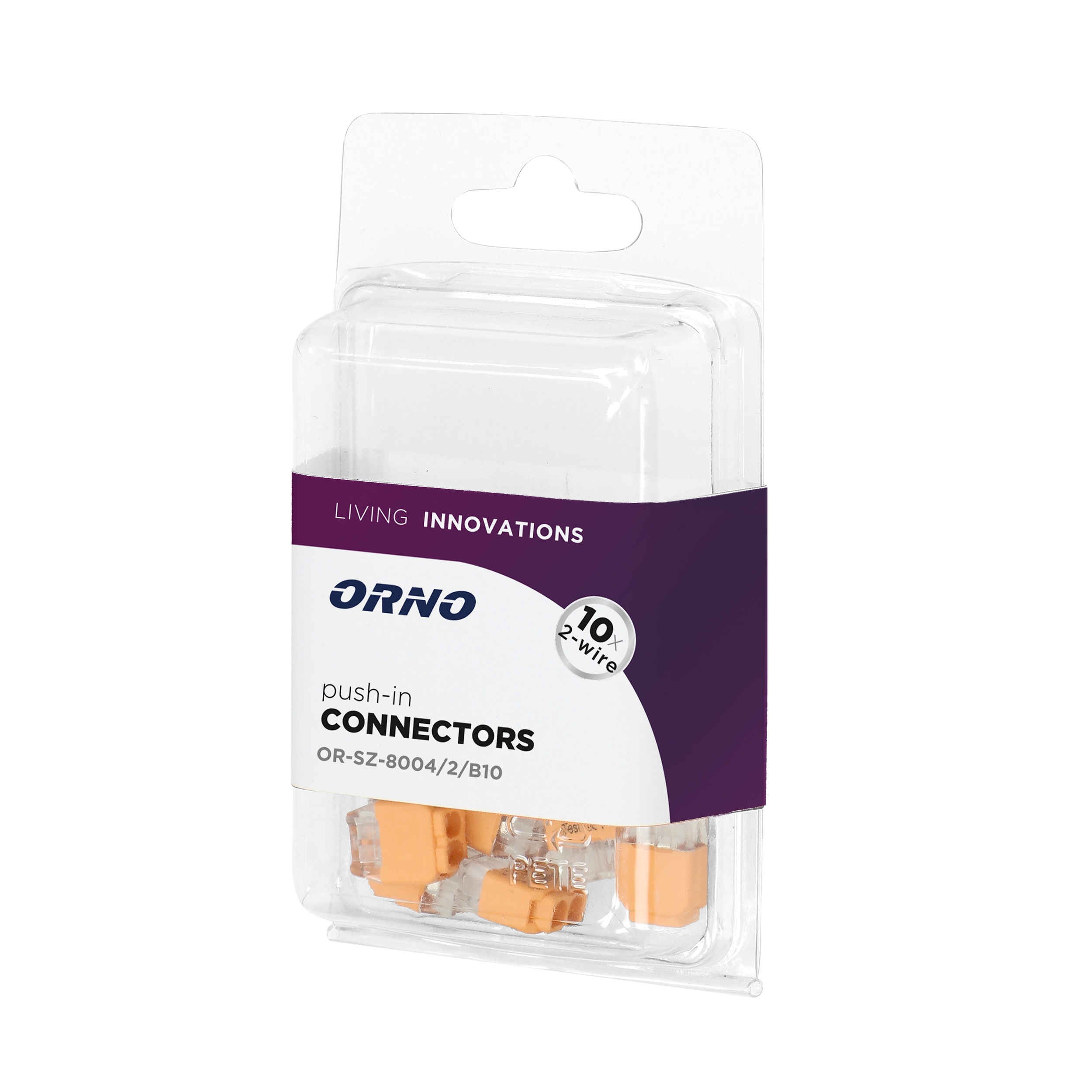 Installation push-in connector for 2 cables (rigid cable 0.75-2.5mm2), IEC 300V/24A, blister pack 10 pcs.