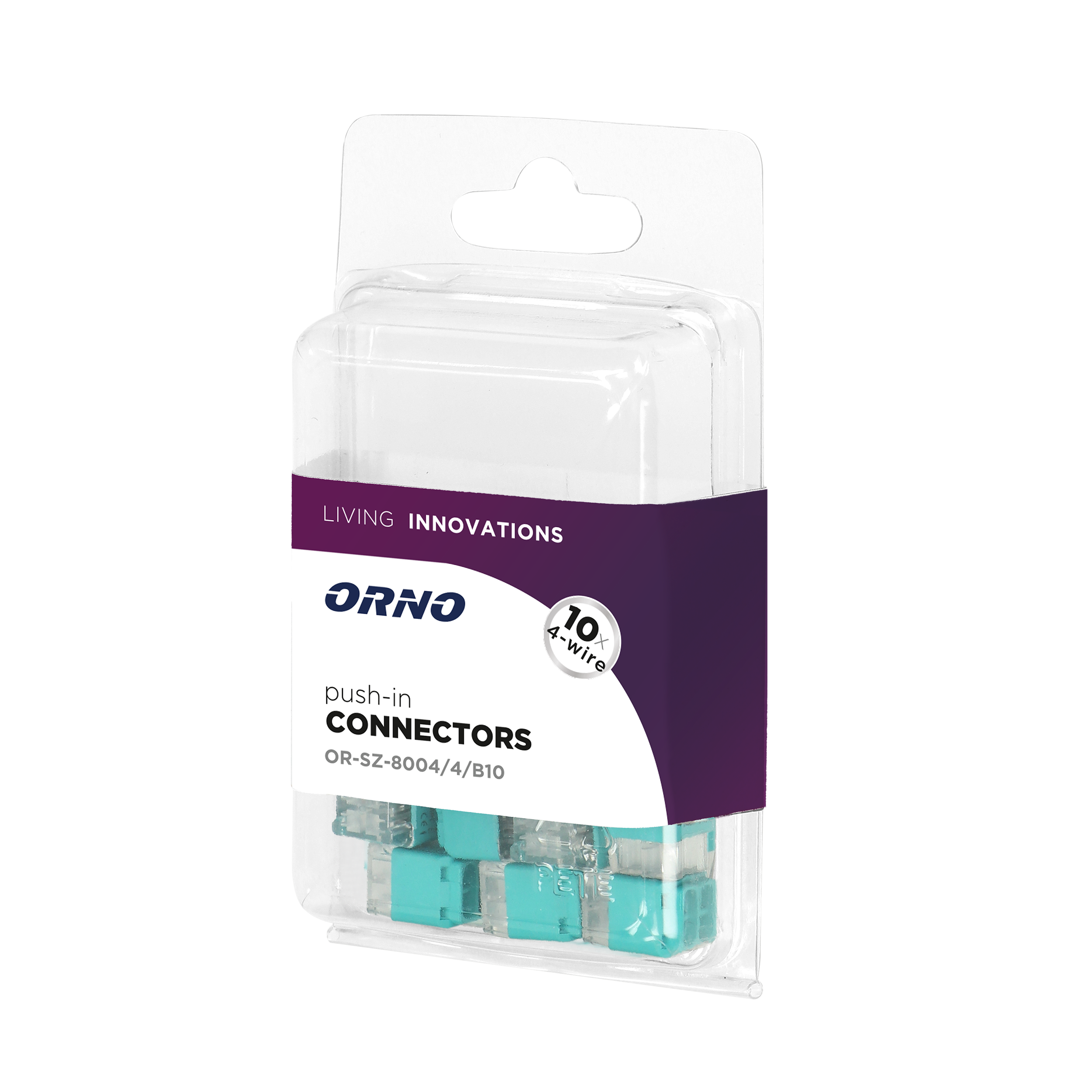 Installation push-in connector for 4 cables (rigid cable 0.75-2.5mm2), IEC 300V/24A, blister pack 10 pcs.
