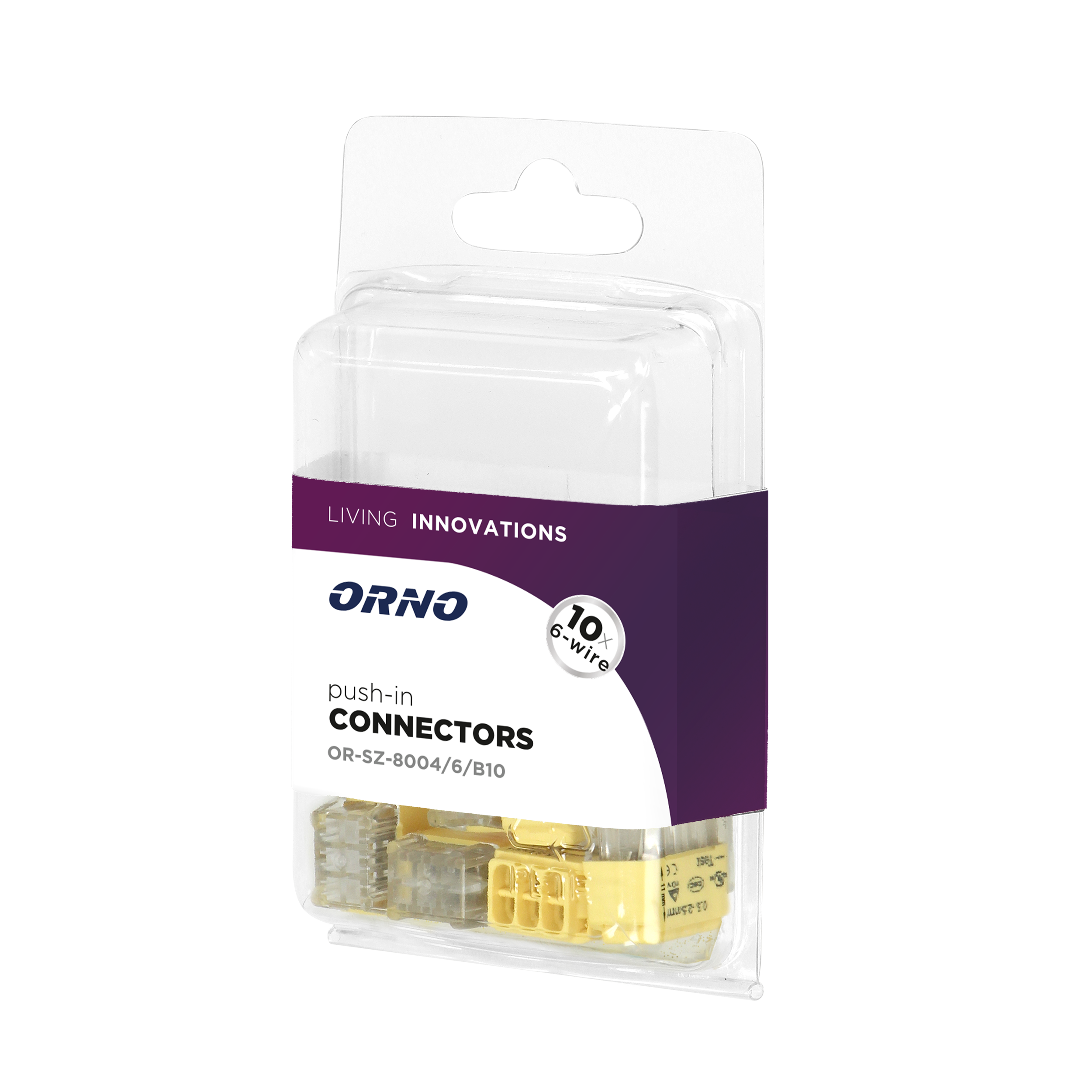 Installation push-in connector for 6 cables (rigid cable 0.75-2.5mm2), IEC 300V/24A, blister pack 10 pcs.