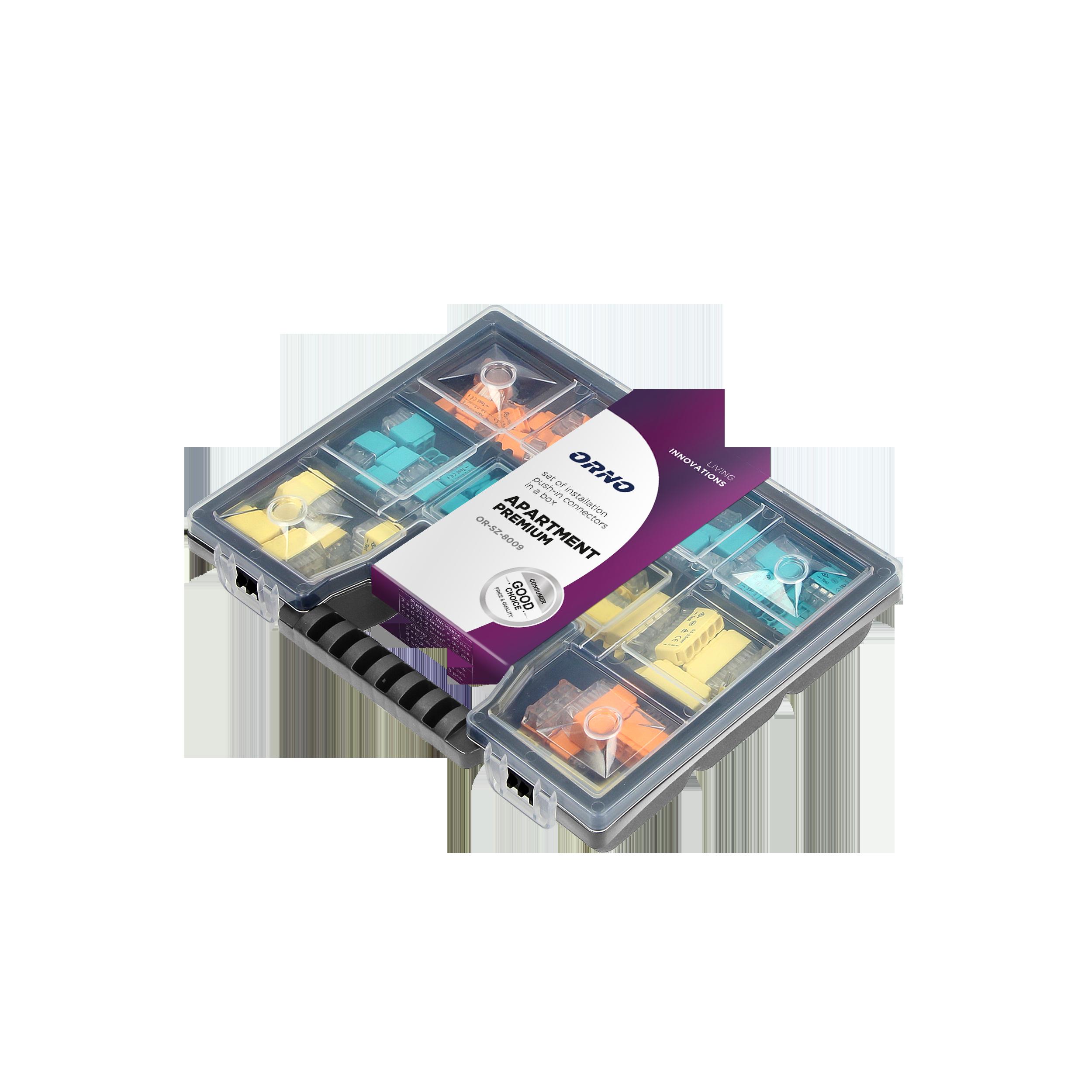 APARTMENT PREMIUM - set of 109pcs of installation push-in (30x2, 30x3, 12x5) and clamp connectors (20x2, 12x3, 5x5) in a box.