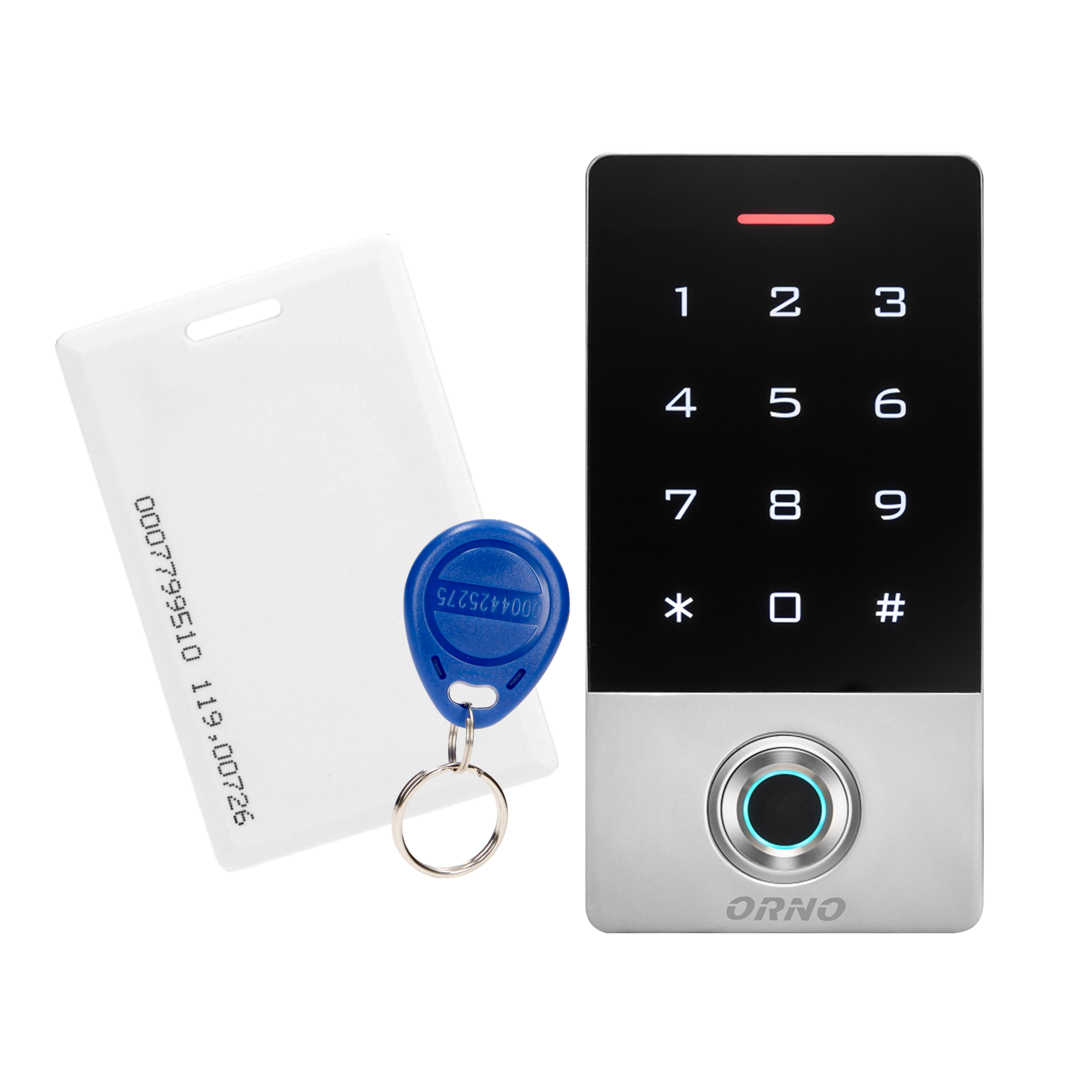 Zamek szyfrowy dotykowy, z czytnikiem kart i breloków zbliżeniowych oraz czytnikiem linii papilarnych, IP68, 1 przekaźnik 3A